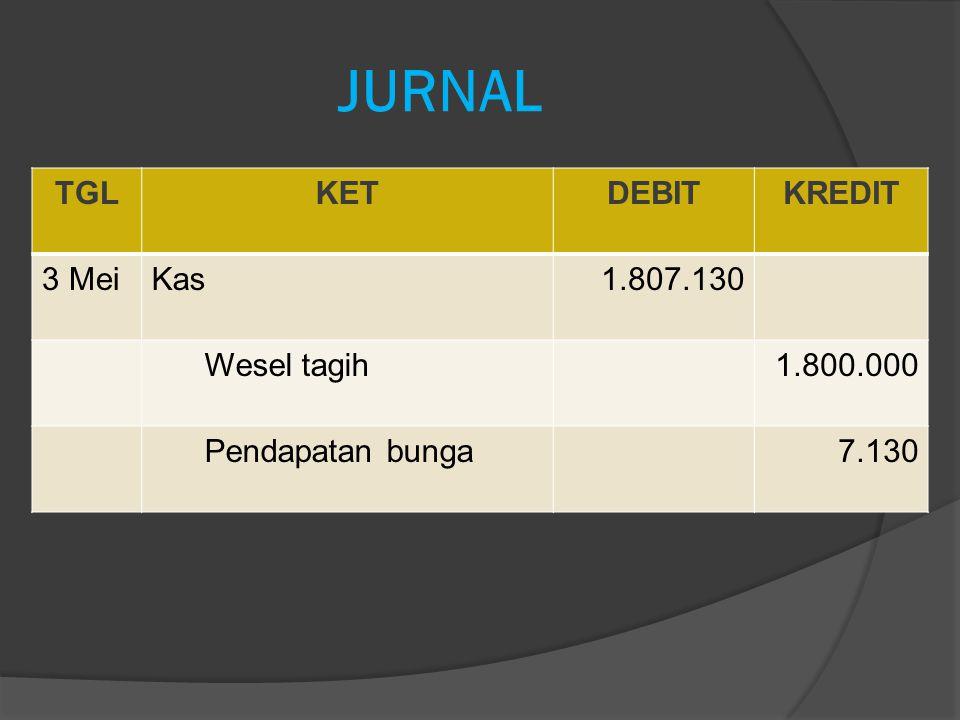 JURNAL TGL KET DEBIT KREDIT 3 Mei Kas 1.807.130 Wesel tagih 1.800.000