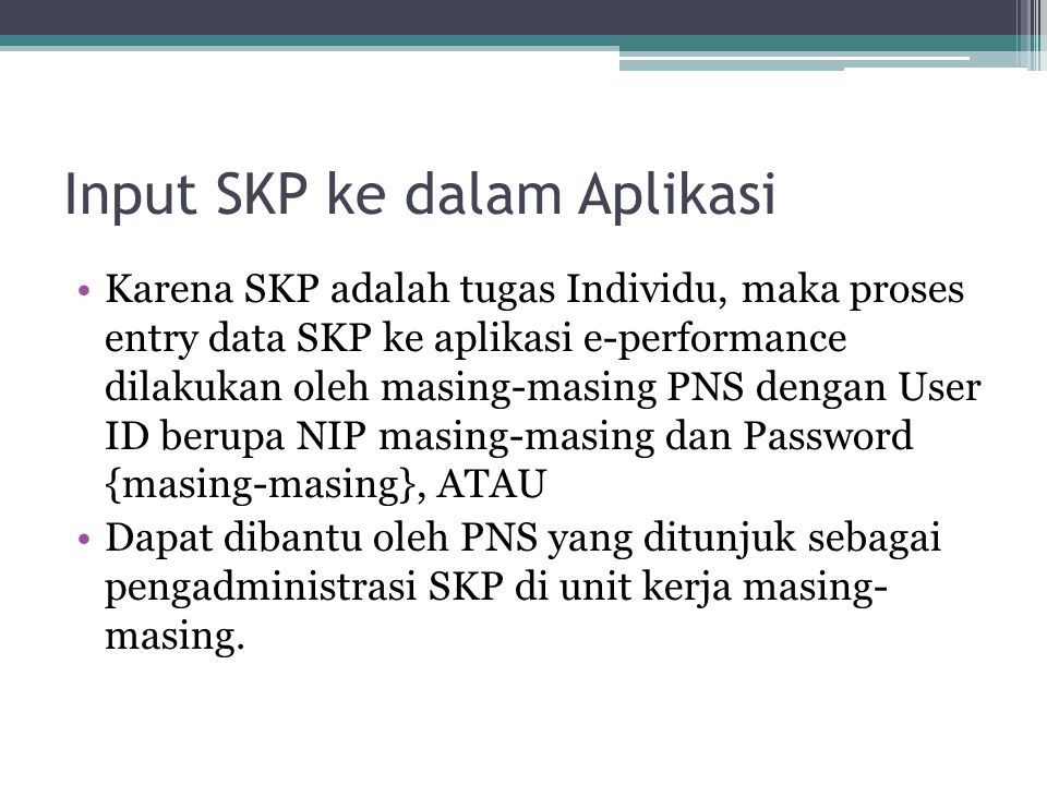 Input SKP ke dalam Aplikasi