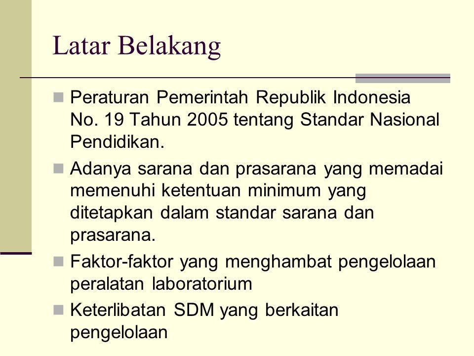 Latar Belakang Peraturan Pemerintah Republik Indonesia No. 19 Tahun 2005 tentang Standar Nasional Pendidikan.