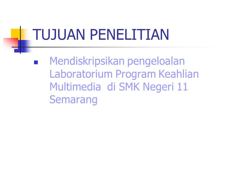 TUJUAN PENELITIAN Mendiskripsikan pengeloalan Laboratorium Program Keahlian Multimedia di SMK Negeri 11 Semarang.