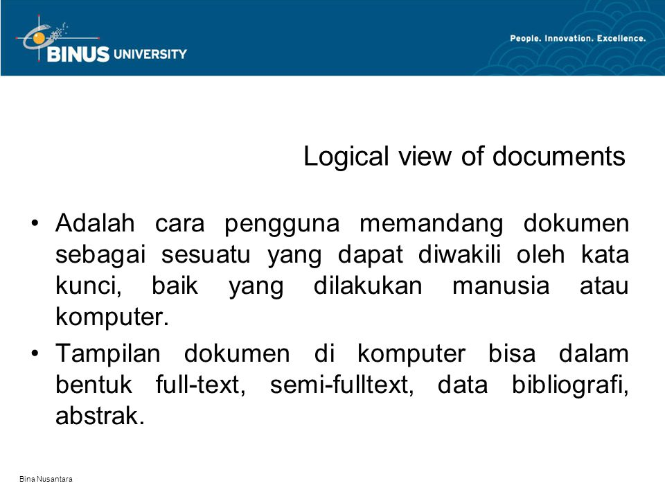 Logical view of documents