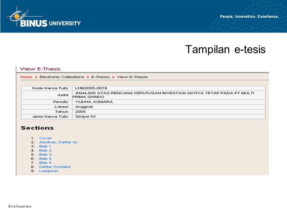 Tampilan e-tesis Bina Nusantara