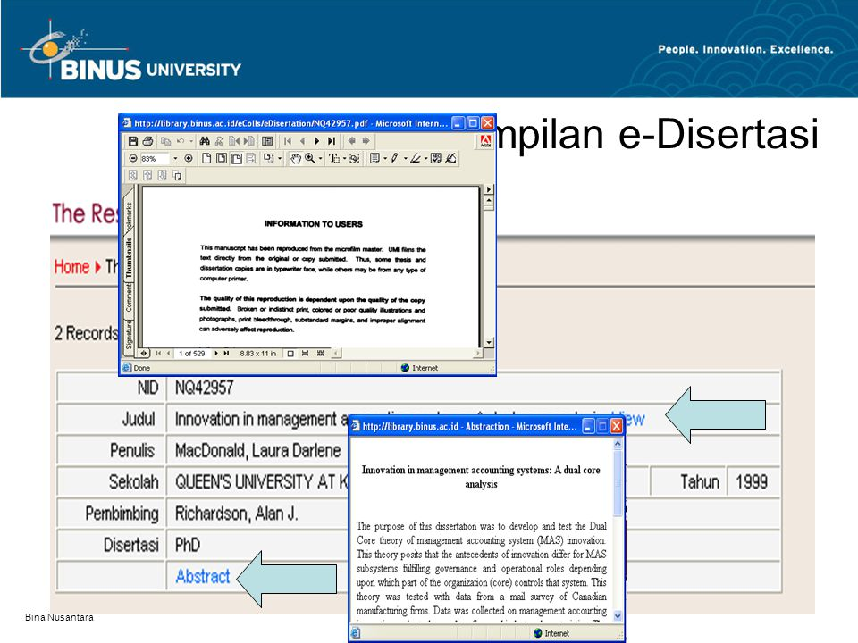 Tampilan e-Disertasi Bina Nusantara