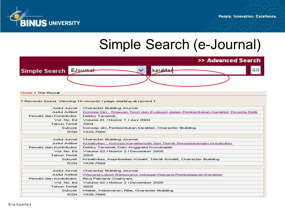 Simple Search (e-Journal)