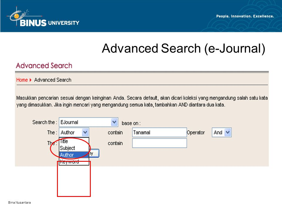 Advanced Search (e-Journal)