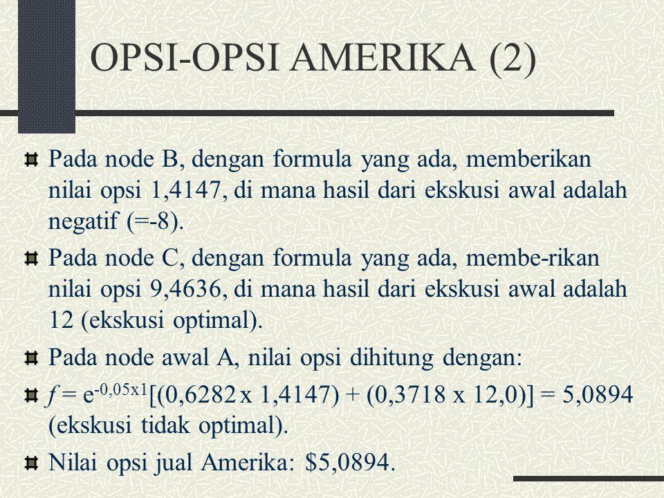 OPSI-OPSI AMERIKA (2) Pada node B, dengan formula yang ada, memberikan nilai opsi 1,4147, di mana hasil dari ekskusi awal adalah negatif (=-8).