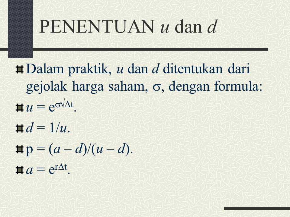 PENENTUAN u dan d Dalam praktik, u dan d ditentukan dari gejolak harga saham, , dengan formula: u = et.