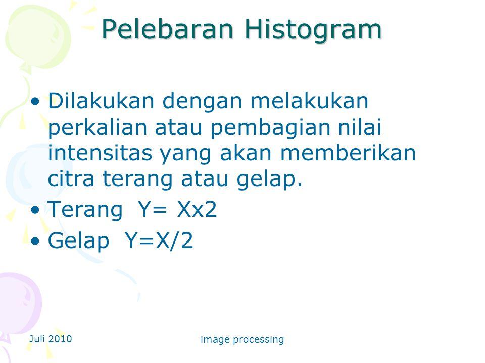 Pelebaran Histogram Dilakukan dengan melakukan perkalian atau pembagian nilai intensitas yang akan memberikan citra terang atau gelap.