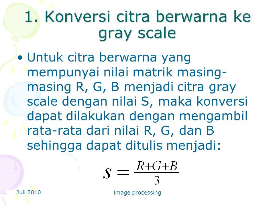 1. Konversi citra berwarna ke gray scale