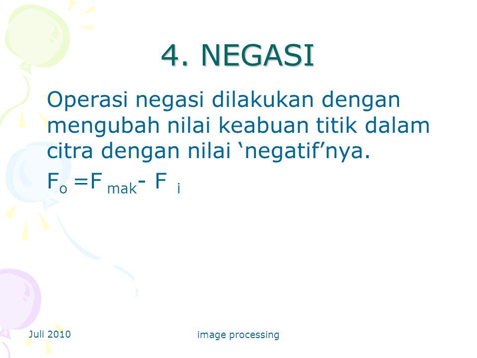 4. NEGASI Operasi negasi dilakukan dengan mengubah nilai keabuan titik dalam citra dengan nilai 'negatif'nya.