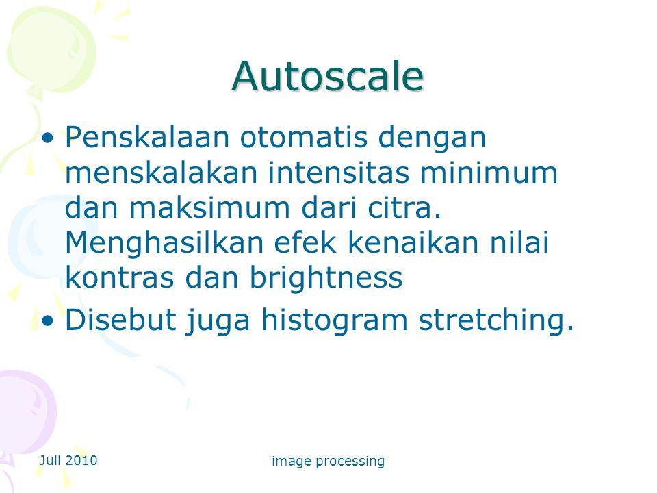 Autoscale Penskalaan otomatis dengan menskalakan intensitas minimum dan maksimum dari citra. Menghasilkan efek kenaikan nilai kontras dan brightness.