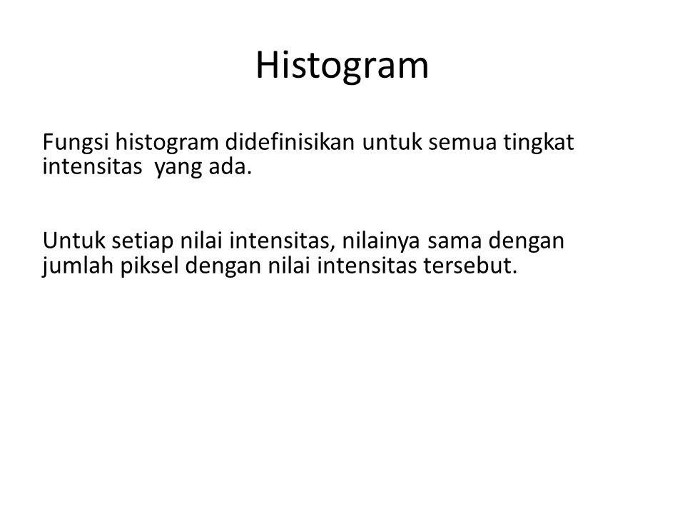 Histogram Fungsi histogram didefinisikan untuk semua tingkat intensitas yang ada.