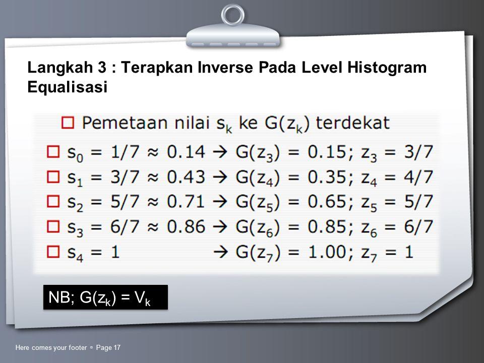 Langkah 3 : Terapkan Inverse Pada Level Histogram Equalisasi