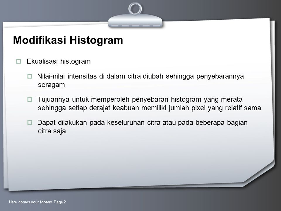 Modifikasi Histogram Ekualisasi histogram