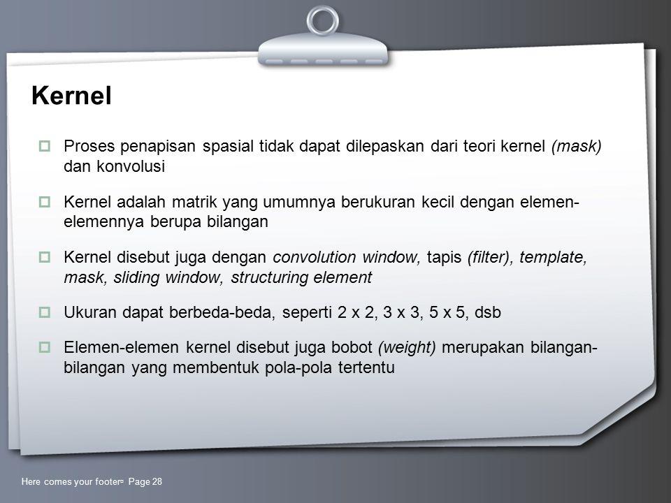 Kernel Proses penapisan spasial tidak dapat dilepaskan dari teori kernel (mask) dan konvolusi.