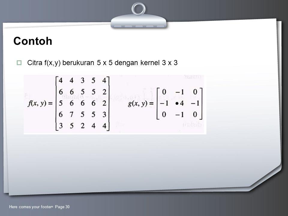 Contoh Citra f(x,y) berukuran 5 x 5 dengan kernel 3 x 3