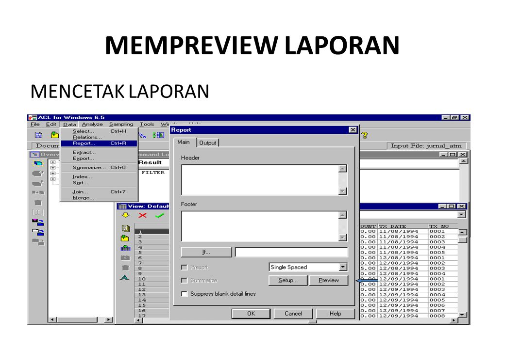 MEMPREVIEW LAPORAN MENCETAK LAPORAN