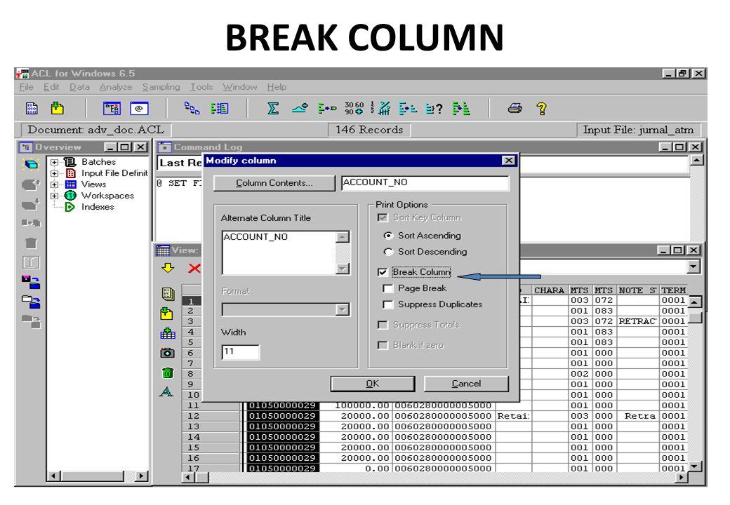 BREAK COLUMN