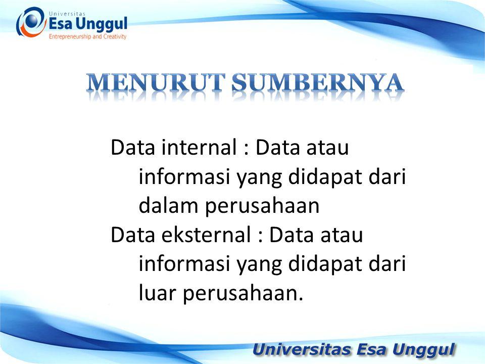 MENURUT SUMBERNYA Data internal : Data atau informasi yang didapat dari dalam perusahaan.