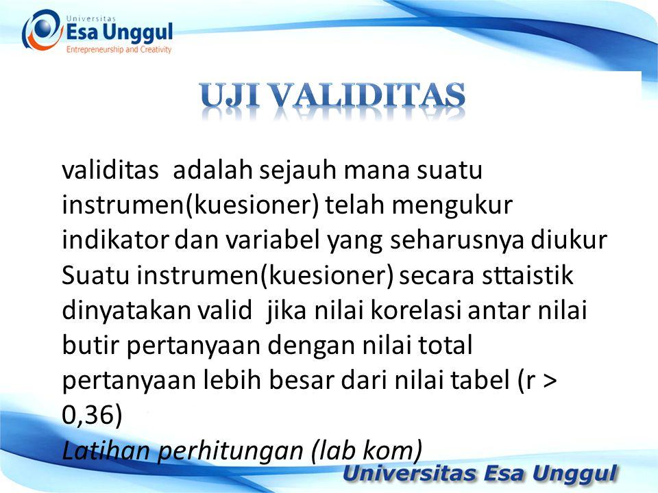 UJI VALIDITAS validitas adalah sejauh mana suatu instrumen(kuesioner) telah mengukur indikator dan variabel yang seharusnya diukur.