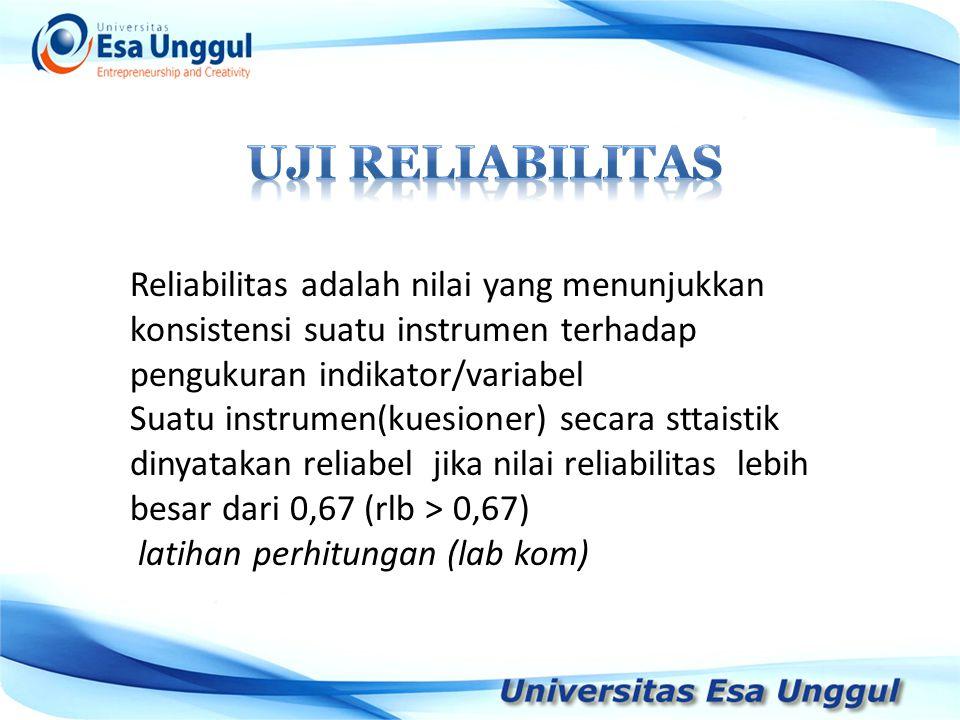 UJI RELIABILITAS Reliabilitas adalah nilai yang menunjukkan konsistensi suatu instrumen terhadap pengukuran indikator/variabel.