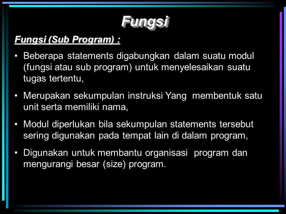 Fungsi Fungsi (Sub Program) :