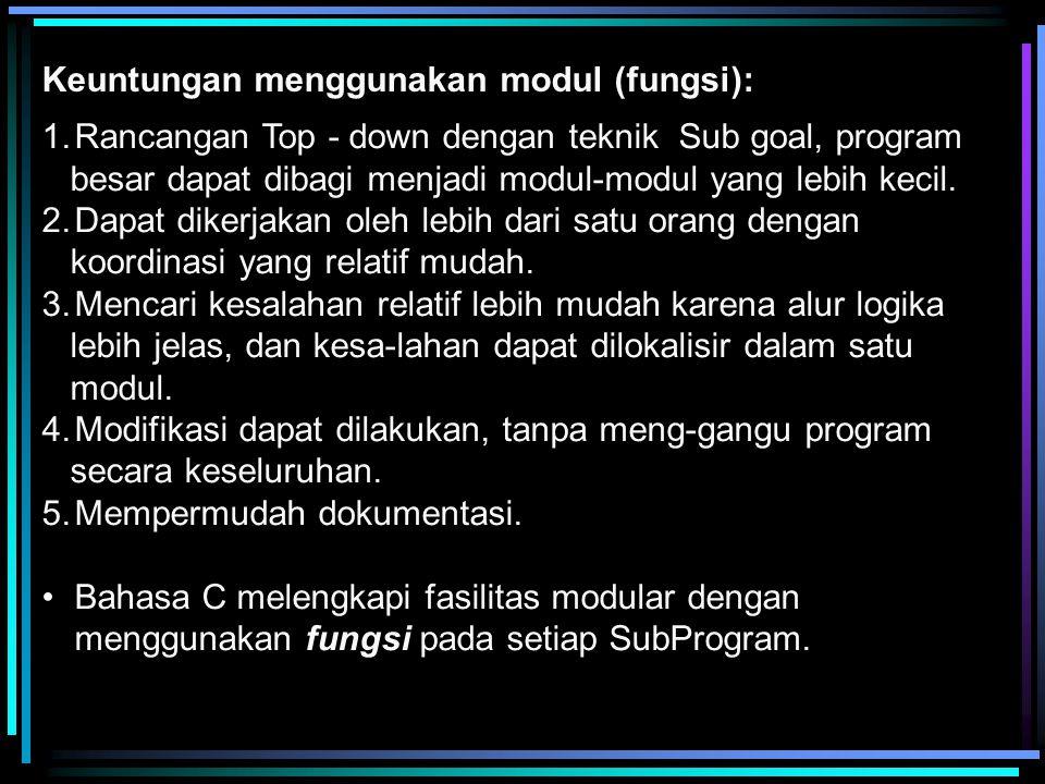Keuntungan menggunakan modul (fungsi):