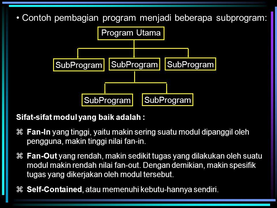 Contoh pembagian program menjadi beberapa subprogram: