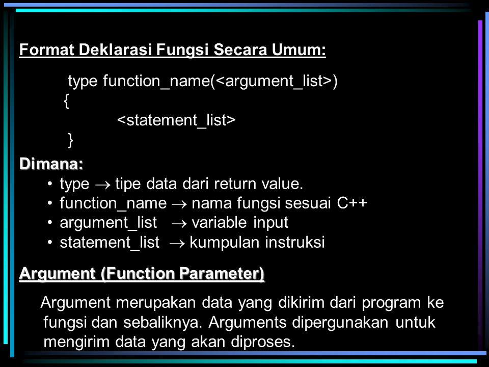 Format Deklarasi Fungsi Secara Umum: