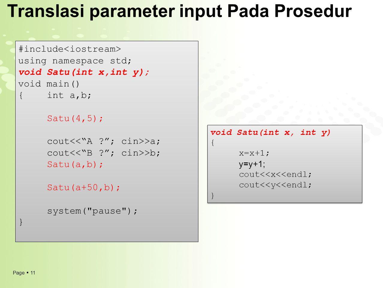 Translasi parameter input Pada Prosedur