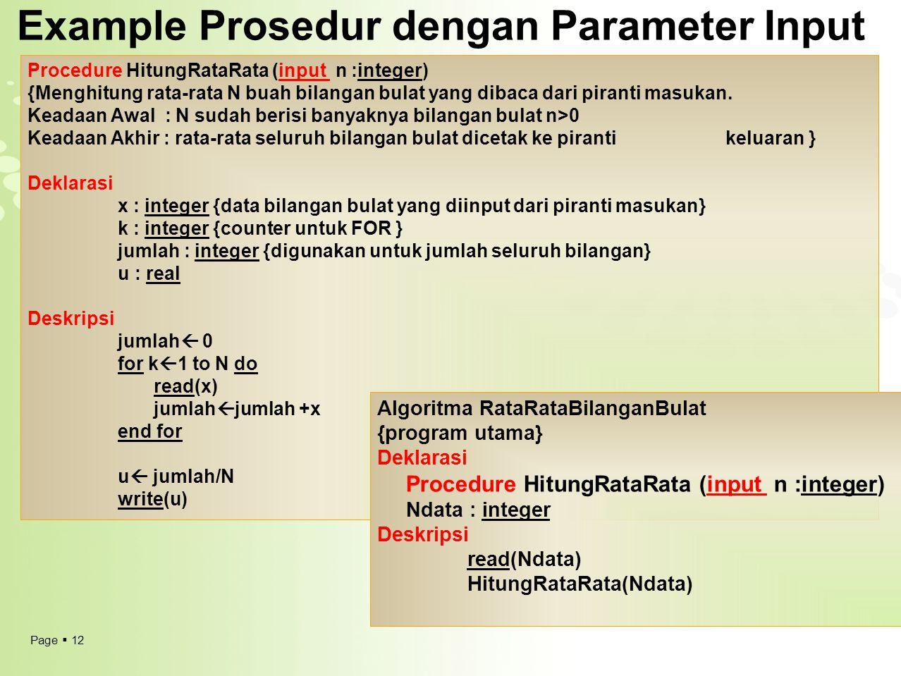 Example Prosedur dengan Parameter Input