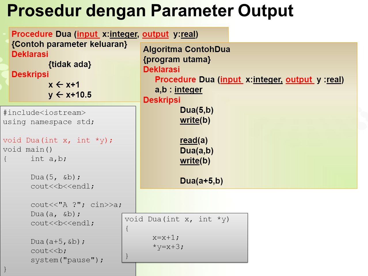 Prosedur dengan Parameter Output