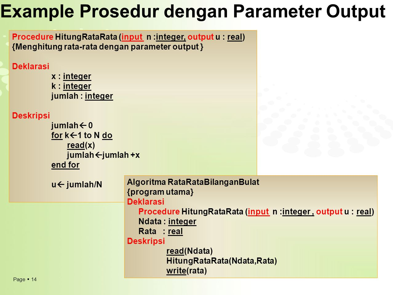 Example Prosedur dengan Parameter Output