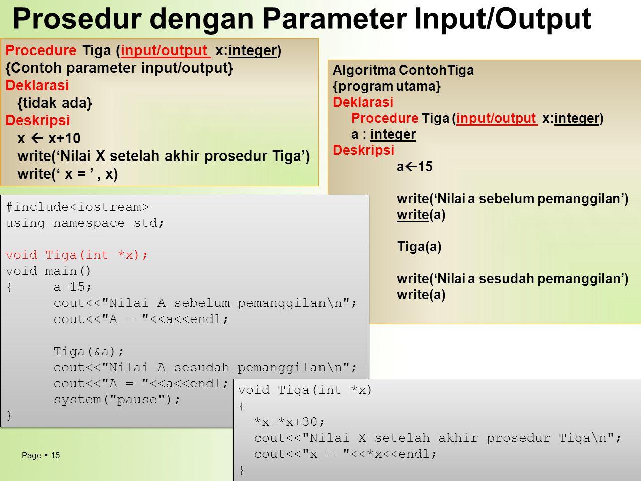 Prosedur dengan Parameter Input/Output