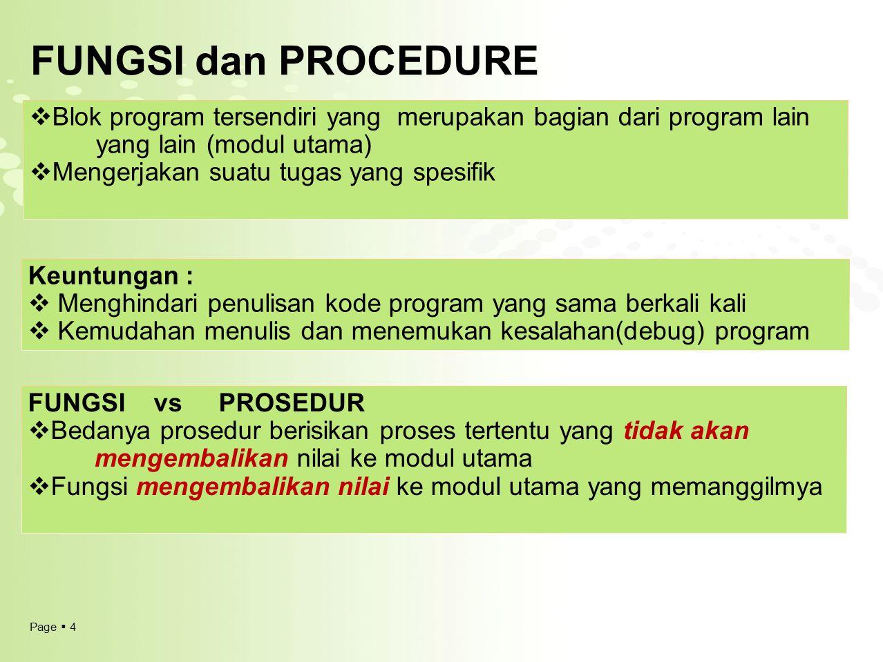 FUNGSI dan PROCEDURE Blok program tersendiri yang merupakan bagian dari program lain yang lain (modul utama)