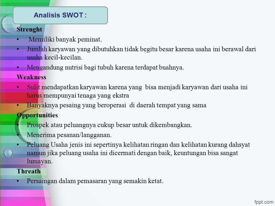 Analisis SWOT : Strenght. Memiliki banyak peminat.