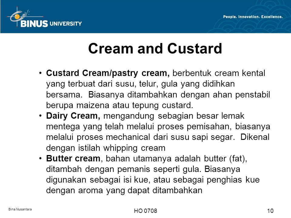 Cream and Custard