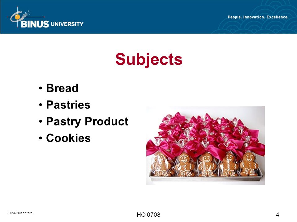 Subjects Bread Pastries Pastry Product Cookies Bina Nusantara HO 0708