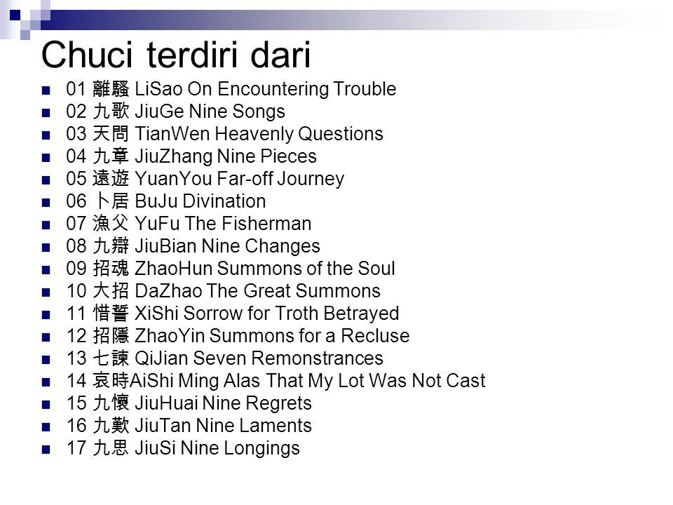 Chuci terdiri dari 01 離騷 LiSao On Encountering Trouble
