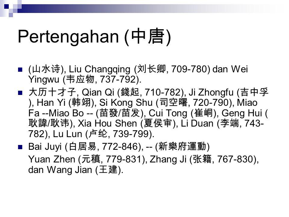 Pertengahan (中唐) (山水诗), Liu Changqing (刘长卿, 709-780) dan Wei Yingwu (韦应物, 737-792).