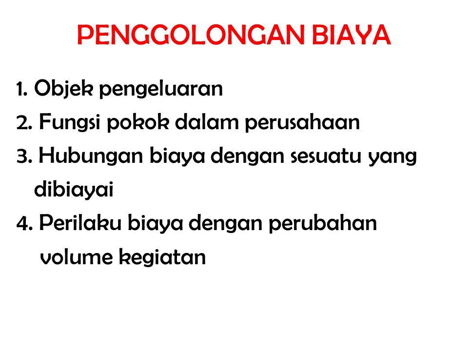 PENGGOLONGAN BIAYA 1. Objek pengeluaran