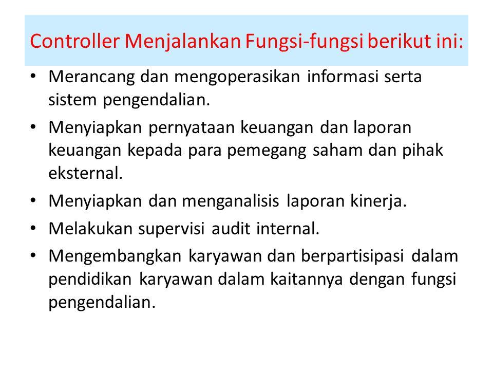 Controller Menjalankan Fungsi-fungsi berikut ini: