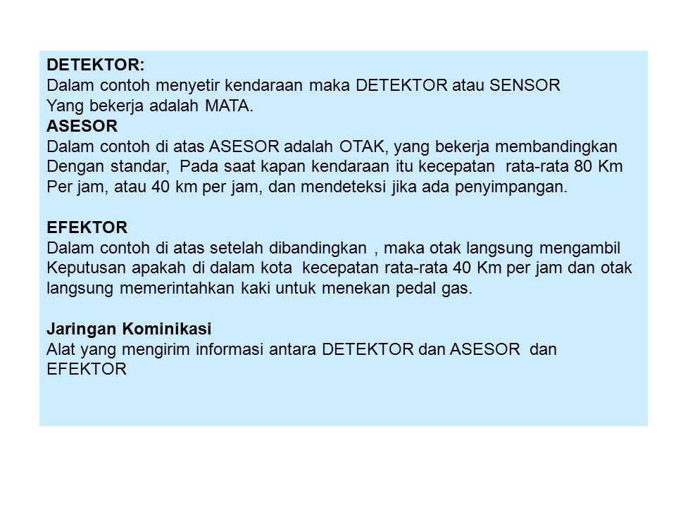 DETEKTOR: Dalam contoh menyetir kendaraan maka DETEKTOR atau SENSOR. Yang bekerja adalah MATA. ASESOR.