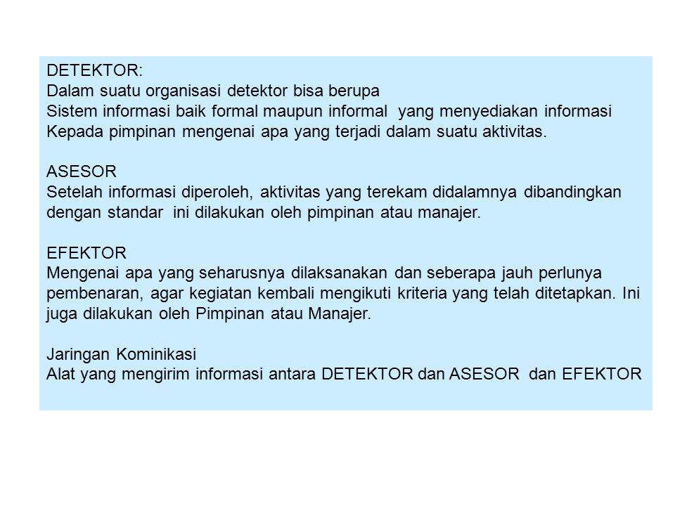DETEKTOR: Dalam suatu organisasi detektor bisa berupa. Sistem informasi baik formal maupun informal yang menyediakan informasi.