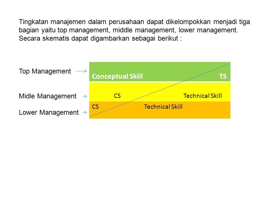 Tingkatan manajemen dalam perusahaan dapat dikelompokkan menjadi tiga