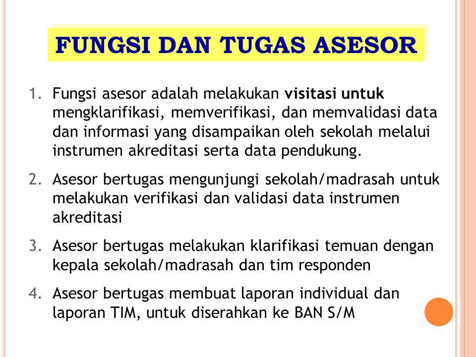 FUNGSI DAN TUGAS ASESOR