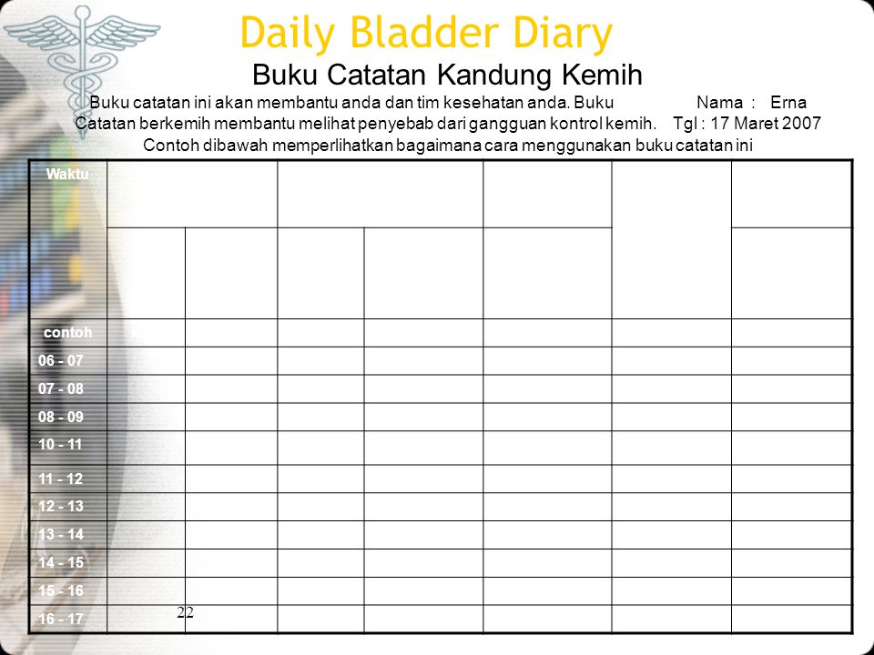 Daily Bladder Diary Buku Catatan Kandung Kemih