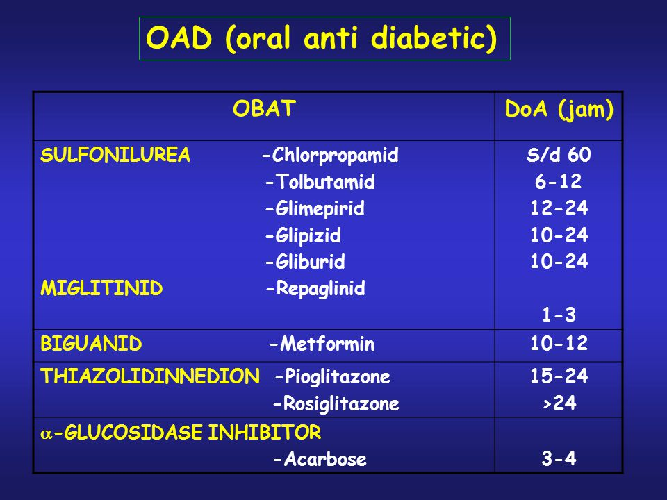 OAD (oral anti diabetic)