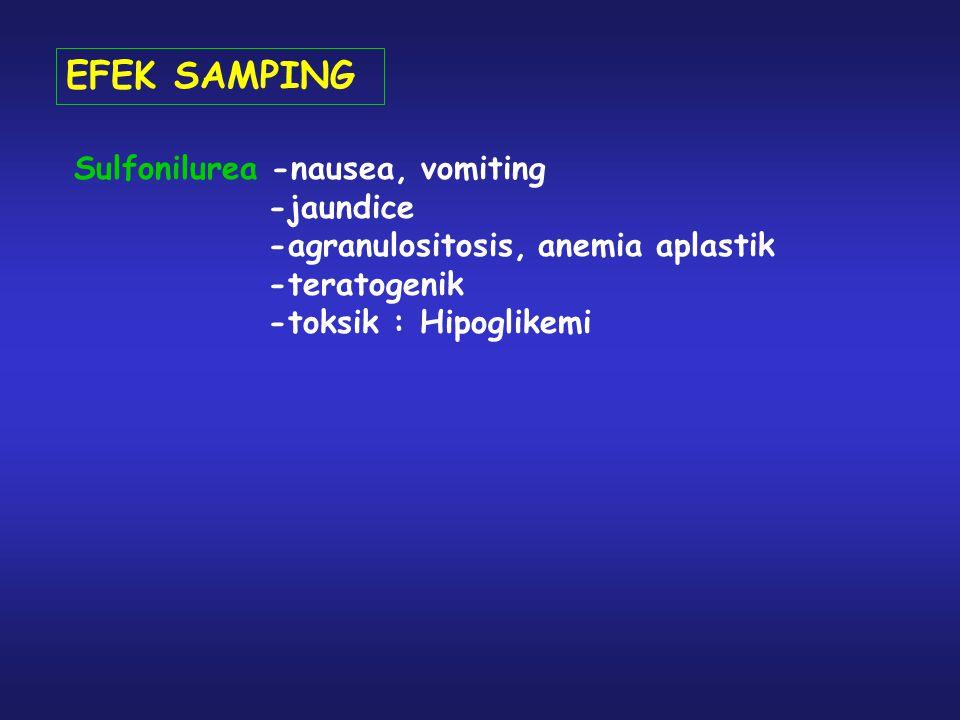 EFEK SAMPING Sulfonilurea -nausea, vomiting -jaundice