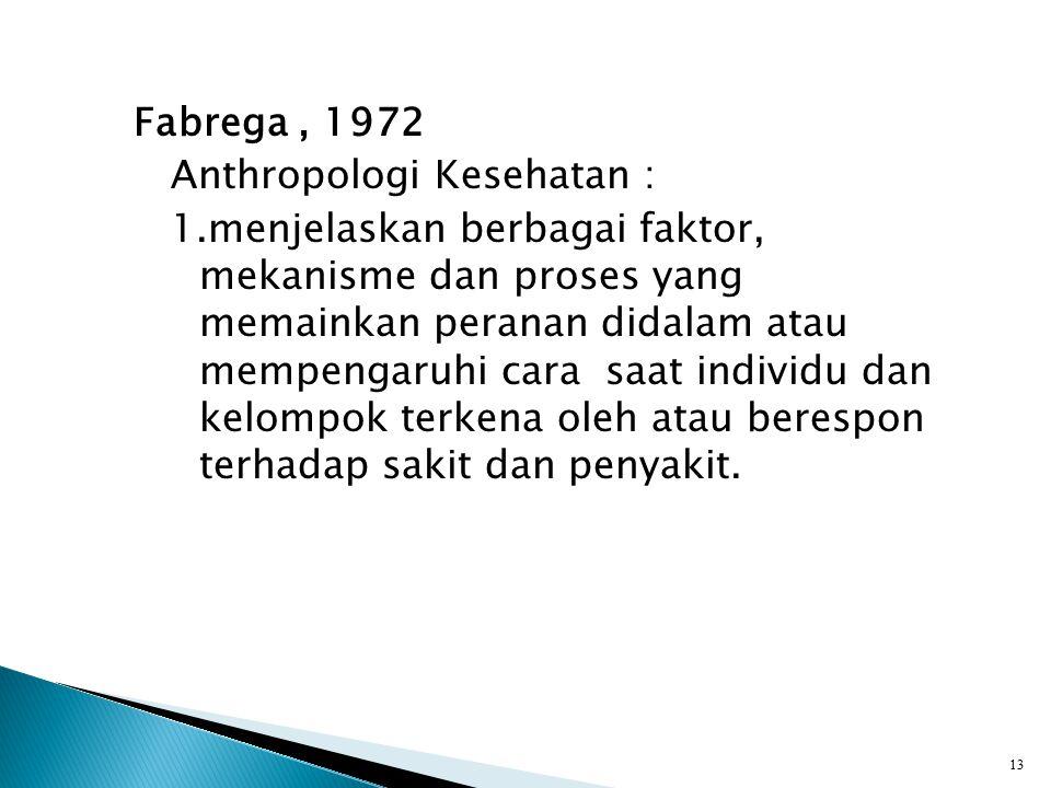 Fabrega , 1972 Anthropologi Kesehatan : 1